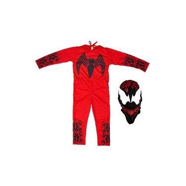 Imagem de fantasia do Venom Infantil Vermelho Vilão Carnage Longo Com Mascara