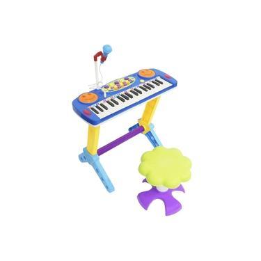 Imagem de Teclado Piano Infantil Musical Rock Star 37 Teclas com Microfone e Banqueta Importway Bw151