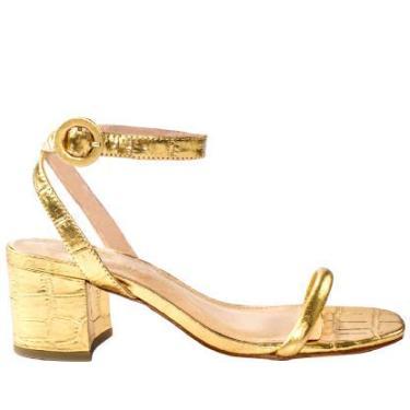 Sandália Feminina Abelle Shoes Salto Bloco Médio em Couro Croco Dourado Mara Tamanho:35;Cor:Dourado