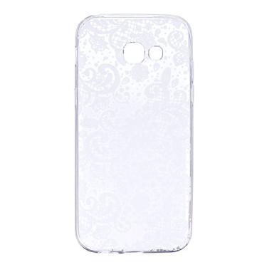 SHUNDA Capa para Galaxy A5 2017, ultrafina, macia, gel de borracha de TPU (poliuretano termoplástico), absorção de choque, capa transparente com estampa bonita para Samsung Galaxy A5 2017 - Renda