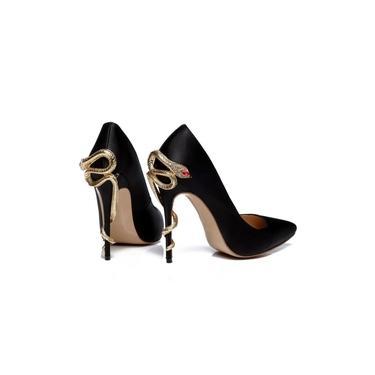 Scarpin Sapato salto Alto Preto Dourado Feminino Cobra Luxo