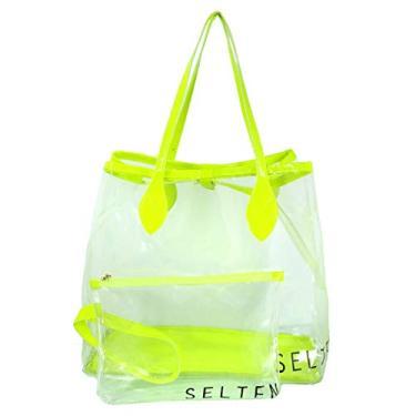 Bolsa de Ombro Transparente Neon Com Necessaire Verde Selten