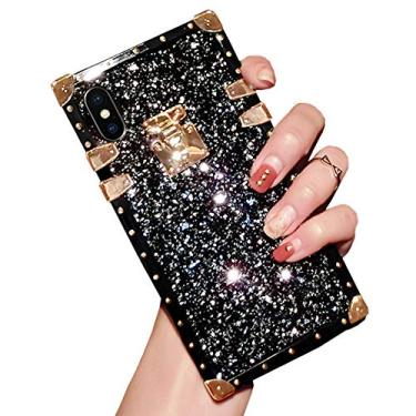SGVAHY Capa brilhante para iPhone 7/8, capa traseira de cristal de diamante brilhante brilhante de luxo bumper resistente à prova de choque capa protetora para meninas e mulheres (preto, iPhone 7/8)