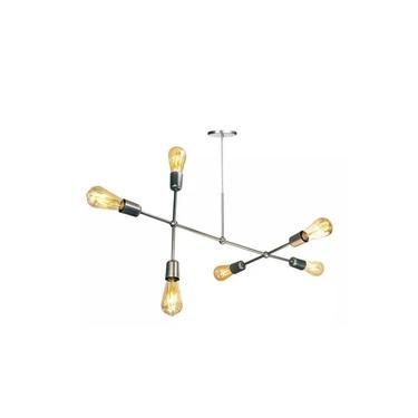 Pendente Moderno Sputnik Assimétrico Para 6 Lâmpadas Prata
