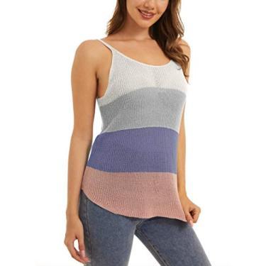 MAGCOMSEN Blusa regata feminina de malha com gola redonda casual color block sem mangas, Roxo, rosa, L