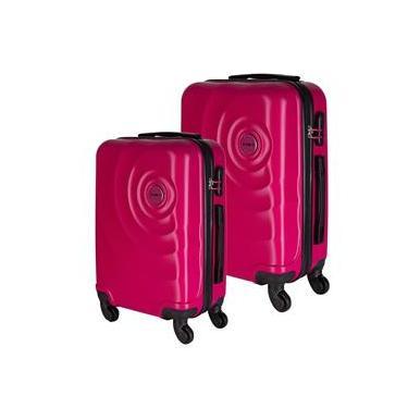 Conjunto de Malas de Viagem em ABS Star Yins Cadeado Embutido Rodas Giro 360º 2 Peças P/PP Rosa