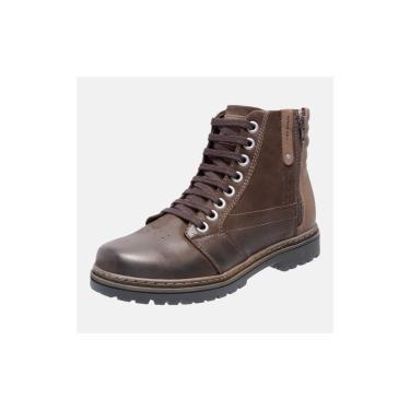 Bota Coturno Em Couro Mega Boots 6026 Cafe-chocolate  masculino