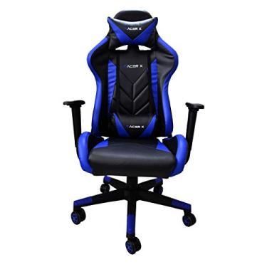 Cadeira Gamer para Computador Racer-X Modelo Rush Reclinável (Azul)