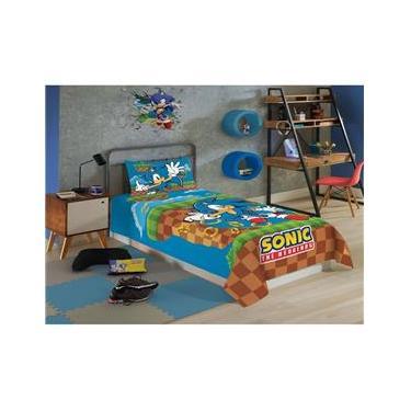 Jogo De Cama Solteiro Infantil Sonic 2 Peças Azul Menino