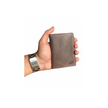 Carteira Masculina Slim Porta Cartão Rg Couro Tabaco
