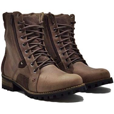 Coturno Casual Cano Alto Masculino 755 Em Couro Boots Com Ziper Cor:Whisky;Tamanho:42