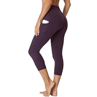 Oalka Calça legging feminina para ioga, corrida, Outside Pockets Vintage Violet Purple, Medium