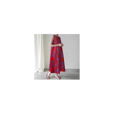 Vestido longo xadrez floral xadrez plus size feminino sem mangas algodão maxi vestido Vermelho 5XL