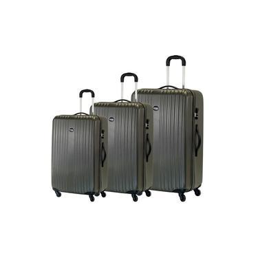 Conjunto Malas De Viagem Zurique, 3 Peças, Em Abs - Cinza