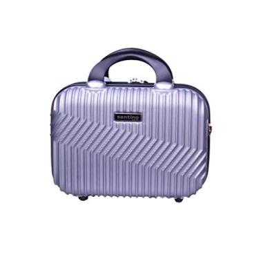 Frasqueira de viagem rígida, maleta de mão organizadora de bagagem, necessaire para maquiagem - Geometric - Santino