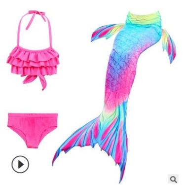 Metcuento Maiô com cauda de sereia para nadar Biquíni Maiô para meninas verão praia conjunto de maiôs