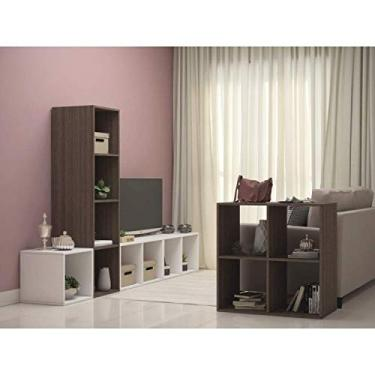 Imagem de Sala de Estar Modular com Rack, Estante e Mesa Lateral Aurora Espresso Móveis Ébano/branco
