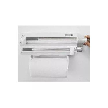 Imagem de Porta Rolos Maxroll Purimax 3x1 Com Puxador Papel Toalha PVC Branco