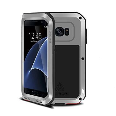 Capa para Galaxy S7 Edge, Mangix Armor Tank de metal de alumínio à prova de choque militar capa protetora rígida para Samsung Galaxy S7 Edge (prata)