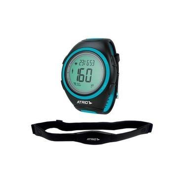 Monitor Cardíaco + Cinta Citius Com Contador De Calorias Cronômetro Alarme Preto E Azul Atrio - Es050