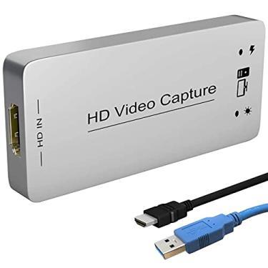 Imagem de Placa adaptadora dongle de captura HDMI para USB 3.0 Full HD 1080P 60FPS Conversor Grabber de captura de videogame de streaming ao vivo para PS4 Xbox One 360 compatível com Linux/Macos/Windows 10/7xp