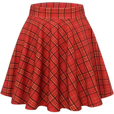 Wedtrend Saia feminina básica versátil elástica evasê rodada casual mini saia patinadora, Red Yellow Grid, S