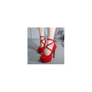Sapatos femininos de salto fino casual de primavera. Sapatos de salto alto superficiais redondos cool 10455