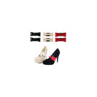 Couro Brilhante Cinta De Sapato Bowknot Destacável Para Sapatos De Salto Alto Wedges Flats
