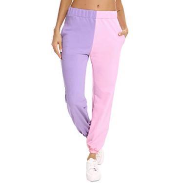 Calça de moletom feminina Aiboria de secagem rápida, calça esportiva, academia, treino, esportes ao ar livre com bolsos, Roxo, rosa, S