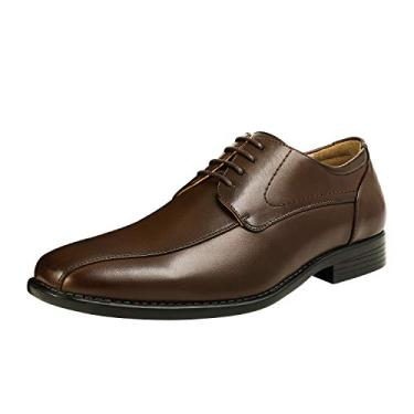 Bruno Marc sapato social masculino formal clássico com cadarço Oxfords, 03-dark Brown, 10