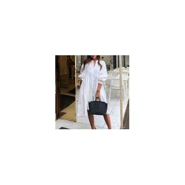 Imagem de Zanzea Moda Retro Grande Tamanho Feminino Senhoras Holdaiy Baggy Vestido de Sol Longo Simples Branco S