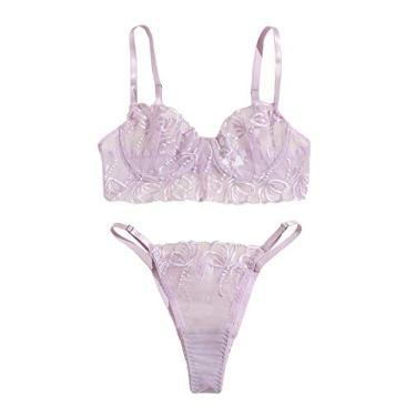 Conjunto de lingerie feminina WDIRARA de duas peças de renda floral transparente conjunto de roupa íntima sutiã e calcinha, Lilac Purple, M