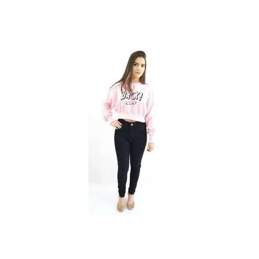 Calça Jeans Plus Size Feminina Com Lycra Skinny Cintura Alta