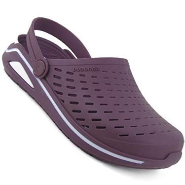 Chinelo Babuche Sandália Crocs Clog Casual Unissex Palmilha Conforto Anti Fungos Boa Onda Bordô Tamanho:39;Cor:Roxo
