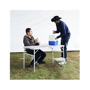 Mesa Domo Dobrável Camping Tipo Maleta com 2 Banquetas Nautika