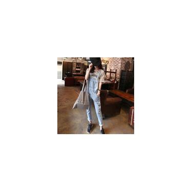 Macacão feminino fashion Nona calça suspensa calça jeans com bolsos