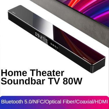 Imagem de Alto-falante soundbar para tv 80w, sistema de home theater, sem fio, bluetooth, 2.1 canais,