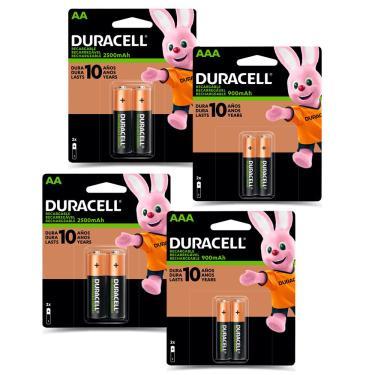 Kit 4 Pilhas Duracell Alcalina AAA + 4 AA Recarregável