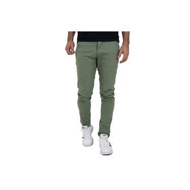 Calça Masculina Slim Verde Oliva Sarja Com Elastano