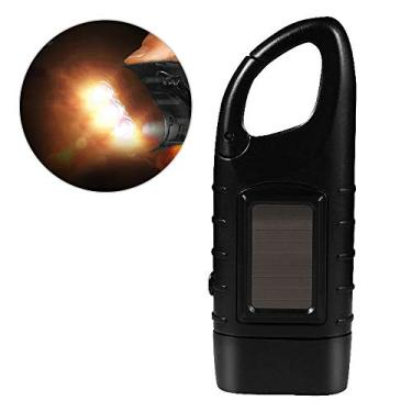 Tocha, Andoer Lanterna manual recarregável com manivela solar LED Lanterna tocha de emergência dínamo com clipe para acampamento ao ar livre, mochila de escalada, caminhada