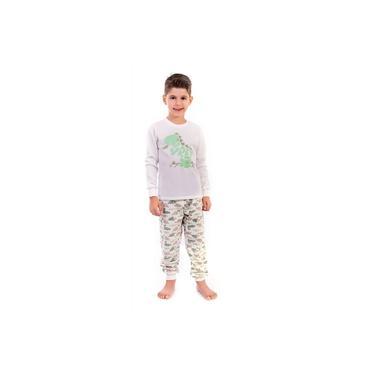 Pijama Longo Infantil - Dinossauro Masculino Menino - Moleton Peluciado - Maria Rosa Confecções