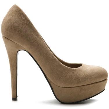 Sapato plataforma feminino Ollio Stiletto camurça sintética salto alto clássico multicolorido, Taupe, 7