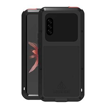 Hicaseer Capa para Sony Xperia 10 II, à prova de choque, neve, poeira, metal de alumínio durável, Gorilla resistente, capa de proteção total para Sony Xperia 10 II - Preta