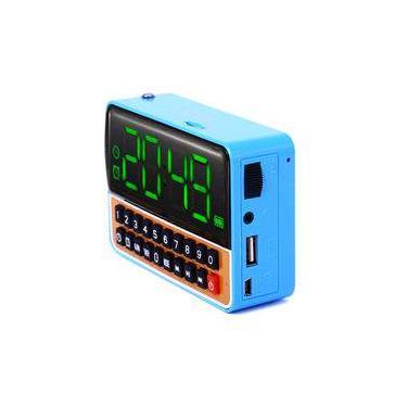 db0bca58a4e Despertador Mp3 Azul Usb Fm Relogio Radio