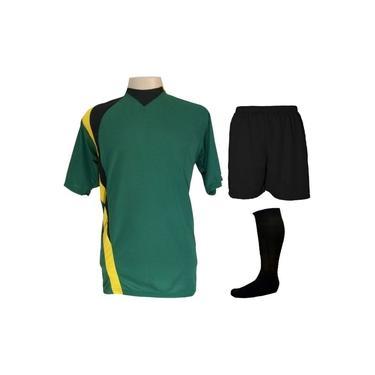 Uniforme Esportivo Completo modelo PSG 14+1 (14 camisas Verde/Preto/Amarelo + 14 calções Madrid Preto + 14 pares de meiões Pretos + 1 conjunto de goleiro) +