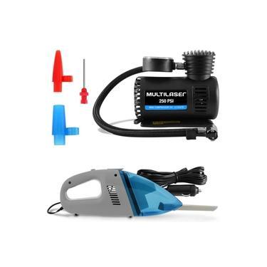 Kit Mini Compressor de Ar portátil Multilaser 12V + Aspirador de Pó Automotivo 12V