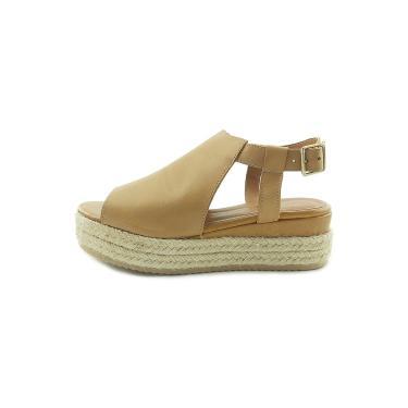 Sandália Scarpan Calçados Finos em Couro Salto Plataforma média - Tostado  feminino