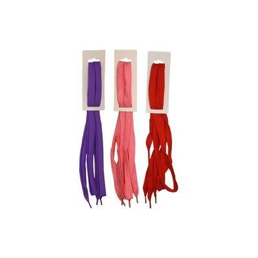 Kit 3 Cadarços P/ Sapatenis 120cm Roxo Vermelho Rosa Cl