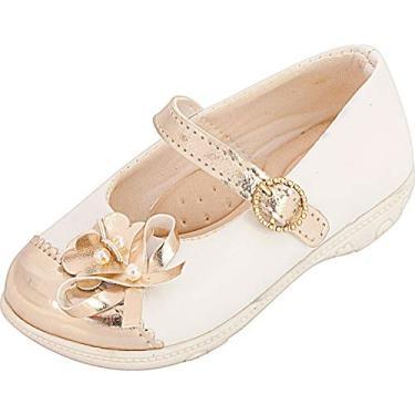 Sapatilha Plis Calçados Laço Branco e Dourado