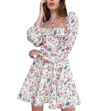 Imagem de Balaflyie Mini vestido feminino de chiffon com estampa floral, decote quadrado, costas nuas, manga comprida, verão, outono, Branco, G
